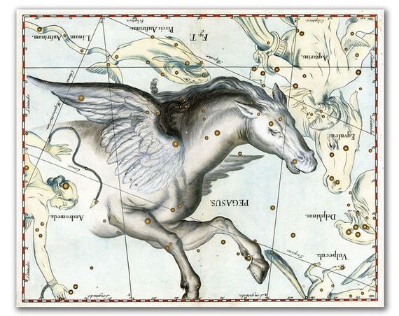 Pegasus Constellation, vintage celestial map printed on parchment paper, Nursery art, Nursery room decor. Buy 3 and get 1 FREE