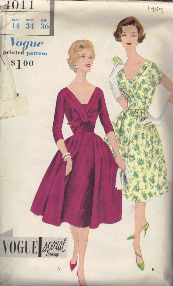 Vogue 1950s Sewing Pattern Special Design Full Skirt One Piece Dress Deep V Neck Kimono Sleeves Front Drape Circle Skirt Bust 34