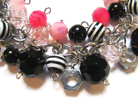 CLEARANCE Pink Black and White Charm Bracelet Mini Hardware Nut Charms Glass Beads