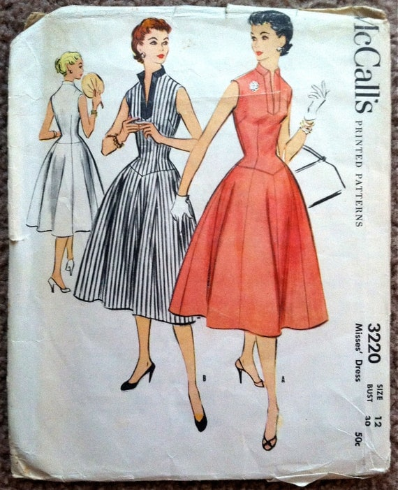 1950's McCall's Belted Rockabilly Dress Pattern - Bust 30 - no. 3220