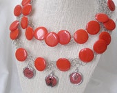 Wire crochet red button necklace
