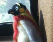 Handmade Needle felted wool animal ornament - Chilly the Penguin