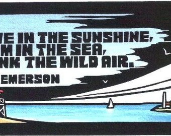 Original Linocut of Quote from Emerson by Ken Swanson (1217)