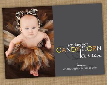 Halloween Photo Card. Candy Corn Kisses