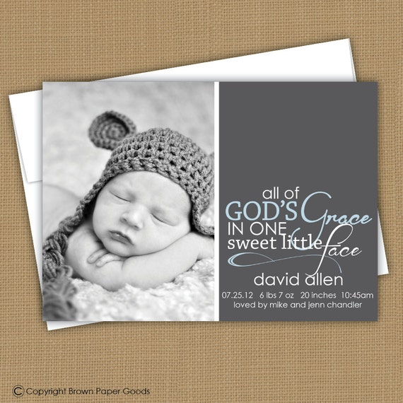 modern baby boy birth announcement. custom photo card. photo baby announcement. All of God's Grace in one sweet little face