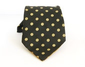 Vintage 1970s Wide Tie, Yellow Gold Polka Dot Pattern on Black