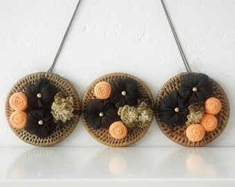 Wall decor Country hanging ornament Rustic home cottage - rattan fabric flowers beads - handmade - ready to ship