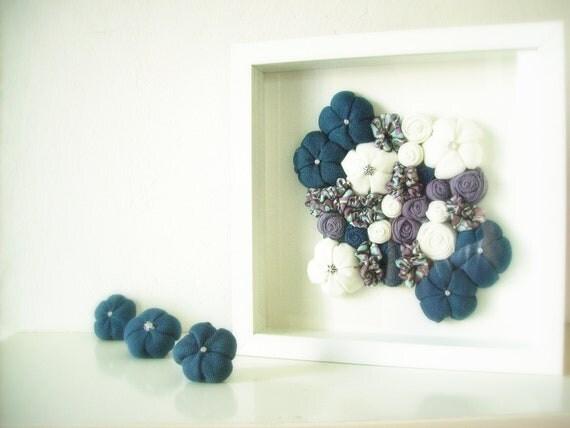 Framed wall art fabric flower 3D design home decor - teal blue lilac white
