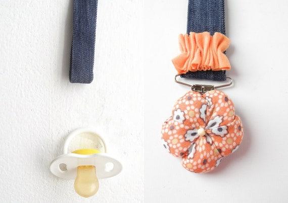 Pacifier holder fabric flower matching fashion baby girl newborn gift  handmade - ready to ship
