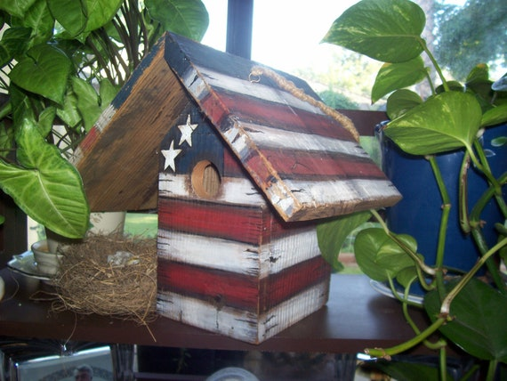 Primitive Americana - Birdhouse - Stars - Stripes - Decorative - Hand Painted - Tole Painted - Hanging - Rustic