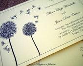 Horizontal Double Sided Wedding Program - Dandelion Love Theme - Printable PDF Design or Printed and Shipped