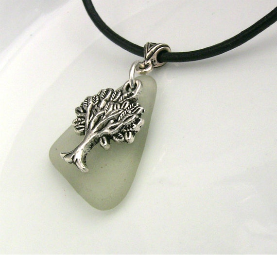 Tree of Life Necklace - Women - Triangle - Celtic - Thinking Tree - White Beach Glass - Symbolic Jewelry - Eco Friendly