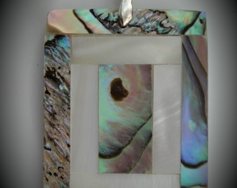 Genuine Silver Plated Abalone With Mother Of Pearl Pendant