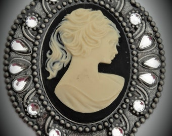 Silver Victorian Cameo Connector With Crystals In Black