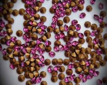1012 13pp Genuine Swarovski Crystals Fuchsia Rounds Foiled Rhinestones 144pcs 1 Gross