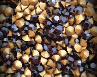 1012 30pp Genuine Swarovski Crystals Garnet Rounds Foiled Rhinestones 144pcs 1 Gross