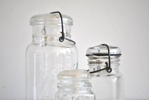 Three Vintage Glass Jars with Lids