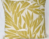 Retro Cushion Cover - Green Leaves Pattern - Linen Cotton Mix Fabric - Made in the UK