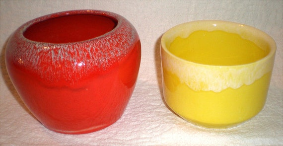 Two Brightly Colored California Pottery Flower Pots