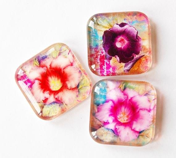 Flower Magnets, Magnets, Glass Magnets, Fridge Magnets, Kitchen Magnets, flowers, pink, purple