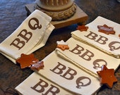 BBQ Cloth Napkins Screen Printed on Linen Colored Napkin with the word BBQ in Brown ...  SET of  4