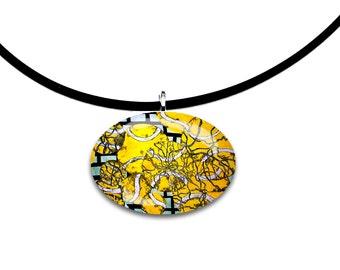 Tennis ball artwork, Oval Glass tile pendant, handmade, yellow and black, unique abstract modern art print