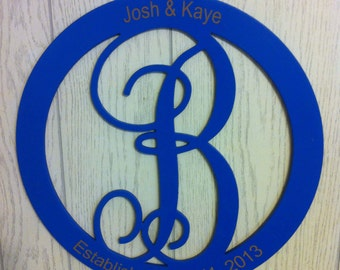 CIRCLE MONOGRAM, FREE Shipping, Scroll initials wood hanging for door or wall