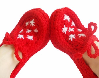 Red Crochet slippers, House shoes, Women, Red slippers, Thick house slippers, House shoes, Stars, Crochet slippers in red