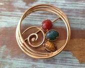 Stone Scarab Carved Beetle Golden Brooch
