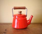 Vintage Orange Red Dansk Kobenstyle Teapot - SALE
