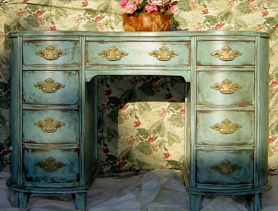 BLUE FRENCH DESK - Or Vanity With 9 Drawers Hand Painted and Distressed Blue Turquoise Teal Green Gold Provincial Curved Vanity