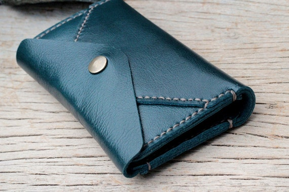 Letter teal leather iphone wallet