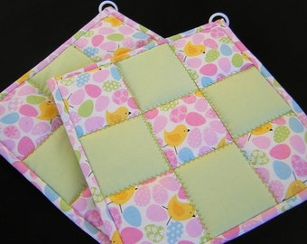 Pale Green & Easter Eggs Quilted Potholders - Set of 2