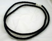 Solid Black Kumihimo Spiral Braided Long 37 Inch Necklace