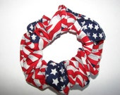 American flag patriotic fabric Hair Scrunchie, women's accessories, USA scrunchies, red white blue, Americans, United States