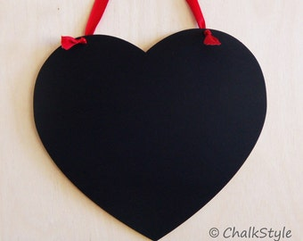 Large Chalkboard Heart Photo Prop Rustic Wedding Decor or Photo Prop Chalk Board Sign with Red Ribbon for Wedding Save the Date