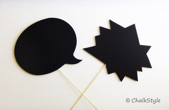 2 Large CHALKBOARD Speech Bubble Photo Booth Props Two Sided Chalk Boards for Wedding Photos, Engagement, Pregnancy Pictures