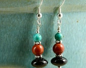30% OFF SALE Turquoise, Jasper, and Onyx Earrings with Sterling Silver, Southwestern Earrings, Turquoise Earrings, Jasper Earrings