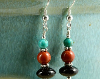 Turquoise, Jasper, and Onyx Earrings with Sterling Silver, Dangle Earrings, Southwestern Earrings, Turquoise Earrings