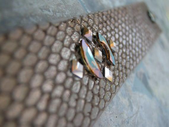 Leather Bracelet Snake Gold Swarovski Crystal Rhinestones Studded Strip Bangle Cuff with Snap BRN-87-1