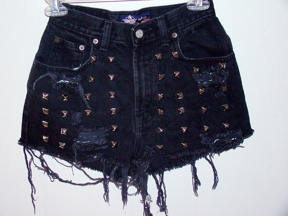 Black super studded high waisted shorts