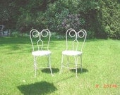 Ice Cream Chairs Vintage Peely Paint White French Cottage Shabby Chic