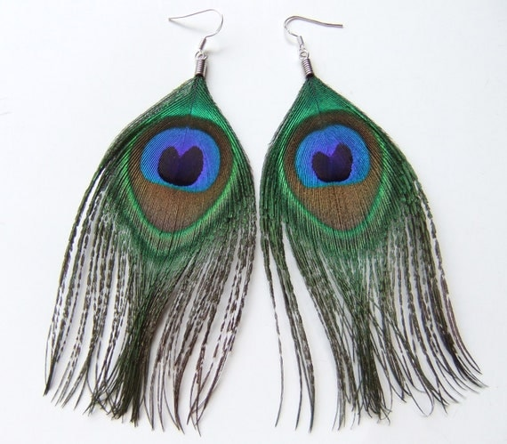 Small Peacock Feather Earrings Jewelry, Peacock Earrings