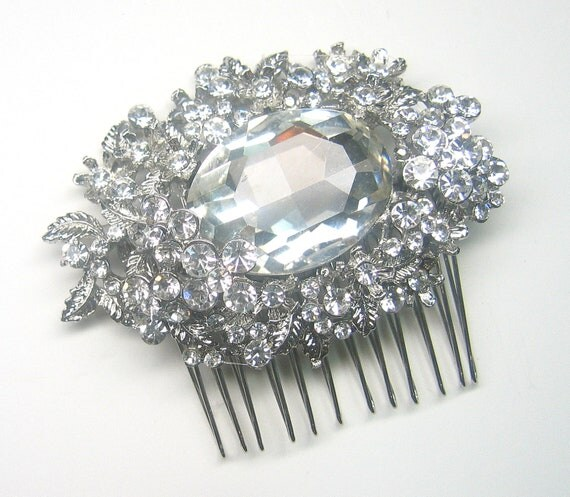 RESERVED for Jennifer- Bridal Rhinestone Hair Comb and  Rhinestone Brooch  for her cake