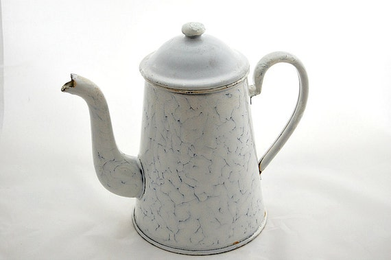 Vintage French white and blue marbled enamelware coffee pot