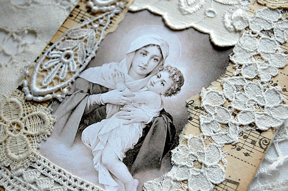 TREASURY ITEM - Madonna and Child fabric collage, vintage French lace and religious medal. OOAK