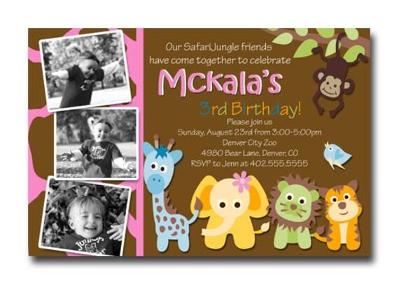 Custom Jungle Safari Zoo Wild Animals Birthday Party