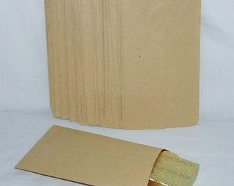 "100 Kraft Brown Paper Gift Bags Measuring 4-3/4""x 7"""