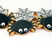 Decorated Cookies - Halloween - Spiders - Webs - 1 dozen