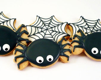 Decorated Cookies - Halloween - Spiders - Webs - 1 dozen
